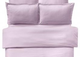 Lenjerie de pat damasc cu elastic ptr saltea de 180cm - roz
