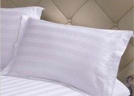 Lenjerie de pat damasc dublu SATINAT, dunga 3cm, cearceaf elastic 160x200cm, alba