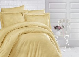 Lenjerie de pat damasc gros 1 persoana, culoarea Mustar