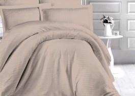 Lenjerie de pat damasc gros cu 2 cearceafuri pilota, culoarea Bej