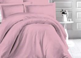 Lenjerie de pat damasc gros cu 2 cearceafuri pilota, culoarea Roz