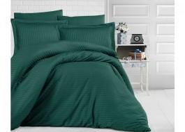 Lenjerie de pat damasc gros cu 2 cearceafuri pilota, Verde