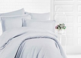 Lenjerie de pat damasc gros cu elastic ptr saltea de 100x200cm - Gri