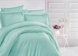 Lenjerie de pat damasc gros cu elastic ptr saltea de 100x200cm - Mint