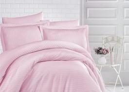 Lenjerie de pat damasc gros cu elastic ptr saltea de 100x200cm - Roz Pudra