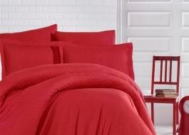 Lenjerie de pat damasc gros cu elastic ptr saltea de 100x200cm - Rosu