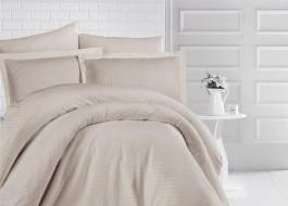 Lenjerie de pat damasc gros cu elastic ptr saltea de 140x200cm - Cappuccino