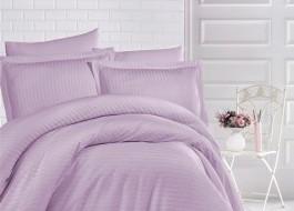 Lenjerie de pat damasc gros cu elastic ptr saltea de 140x200cm - Lila