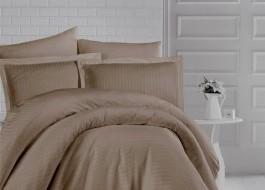 Lenjerie de pat damasc gros cu elastic ptr saltea de 140x200cm - Maro