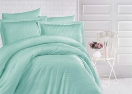 Lenjerie de pat damasc gros cu elastic ptr saltea de 140x200cm - Mint