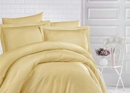 Lenjerie de pat damasc gros cu elastic ptr saltea de 140x200cm - Mustar