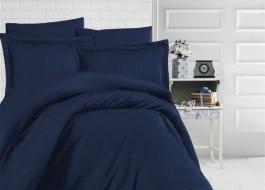 Lenjerie de pat damasc gros cu elastic ptr saltea de 140x200cm - Bleumarin