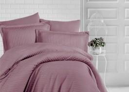 Lenjerie de pat damasc gros cu elastic ptr saltea de 140x200cm - Brown
