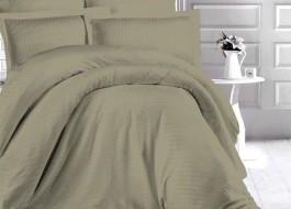 Lenjerie de pat damasc gros cu elastic ptr saltea de 140x200cm - Kaki