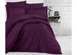 Lenjerie de pat damasc gros cu elastic ptr saltea de 140x200cm - Mov inchis