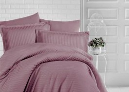 Lenjerie de pat damasc gros cu elastic ptr saltea de 160x200cm - Brown