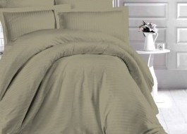 Lenjerie de pat damasc gros cu elastic ptr saltea de 180x200cm - Kaki