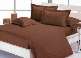 Lenjerie de pat damasc gros cu elastic ptr saltea de 180x200cm - Maro Inchis