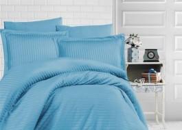 Lenjerie de pat damasc gros cu elastic ptr saltea de 180x200cm - Turcoaz