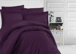 Lenjerie de pat damasc satinat culoarea violet