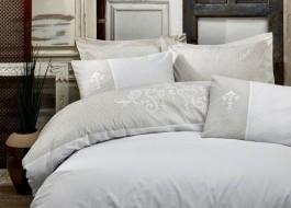 Lenjerie de pat de lux cu broderie, Cotton Box, Adel Beige