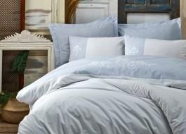 Lenjerie de pat de lux cu broderie, Cotton Box, Adel Blue