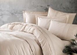 Lenjerie de pat de lux cu dantela, Cotton Box, Elba Bej