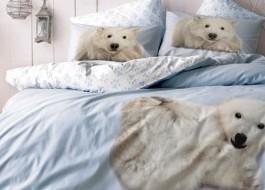 Lenjerie de pat cu elastic pentru saltea de 160x200cm, 3D bumbac 100% ranforce, TAC, Bear