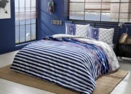Lenjerie de pat cu elastic pentru saltea de 160x200cm, bumbac 100% ranforce, TAC, Blue