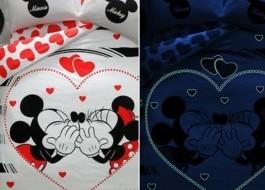 Lenjerie de pat dublu cu elemente fosforescente, Tac Disney, Minnie & Mickey Amour