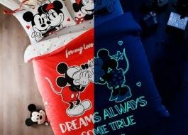 Lenjerie de pat dublu cu elemente fosforescente, Tac Disney, Minnie&Mickey Dreams Glow