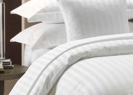 Lenjerie de pat dublu damasc culoarea alba - dunga de 2 cm