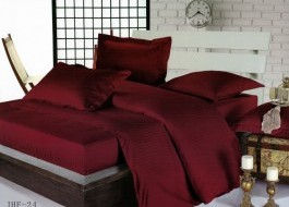 Lenjerie de pat dublu damasc culoarea grena