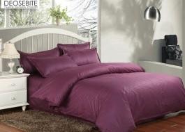 Lenjerie de pat dublu damasc culoarea mov inchis