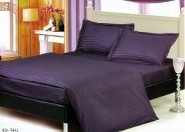 Lenjerie de pat dublu damasc culoarea violet inchis