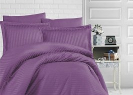Lenjerie de pat dublu damasc gros culoarea mov