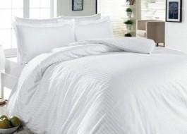 Lenjerie de pat dublu damasc MAT culoarea alba - dunga de 1 cm
