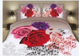 Lenjerie de pat dublu, polyester, imprimeu 3D, Ralex Pucioasa, Roses