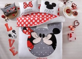 Lenjerie de pat dublu, Tac Disney, Minnie&Mickey #Loveis