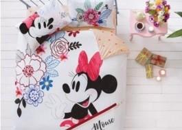 Lenjerie de pat dublu Tac Disney Minnie & Mickey Watercolor