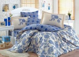 Lenjerie de pat exclusive satin de lux, Hobby Home, Antonia - Dark Blue