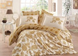 Lenjerie de pat exclusive satin de lux, Hobby Home, Antonia - Gold