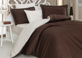 Lenjerie de pat exclusive satin de lux, Hobby Home, Diamond Damask - Brown, Cream
