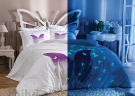 Lenjerie de pat TAC satin de lux fosforescenta Glow 1