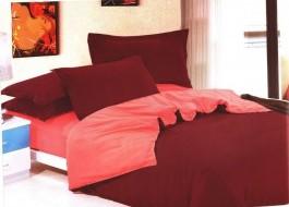 Oferta 1+1gratis: Lenjerie de pat dublu 4 piese grena cu roz MX18