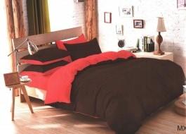 Oferta 1+1gratis: Lenjerie de pat dublu 4 piese maro cu rosu MX105