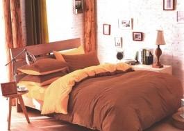 Lenjerie de pat maro deschis cu crem MX11