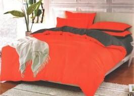 Oferta 1+1gratis: Lenjerie de pat dublu 4 piese portocaliu cu gri MX109