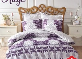 Lenjerie de pat premium satin de lux, Cotton Box, Aliye - Purple