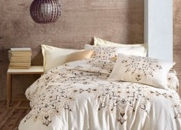 Lenjerie de pat premium satin de lux, Cotton Box, Laura - Brown